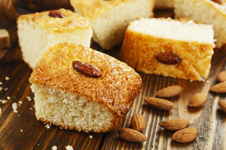 Arabic semolina pie with coconut and almond. Basbousa