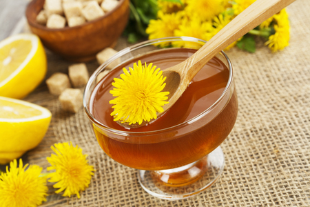 Jam of dandelions on the table