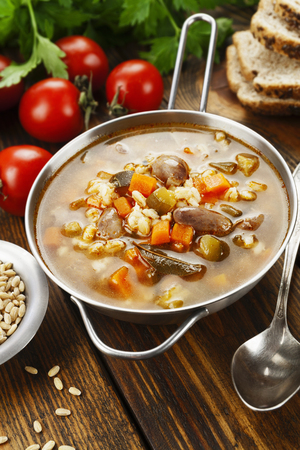 gizzard: Pickle soup with chicken giblets and tomato sauce. Rassolnik