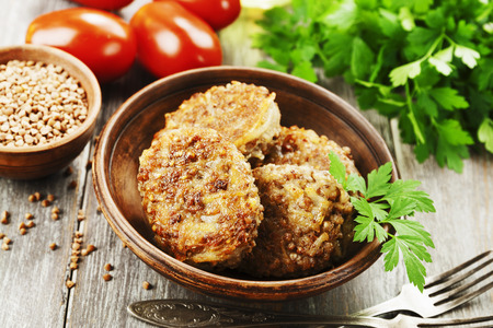 Vegetarian cutlets of  buckwheat on the plate Stock Photo
