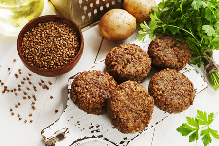 Vegetarian cutlets of buckwheat on the plate 스톡 콘텐츠