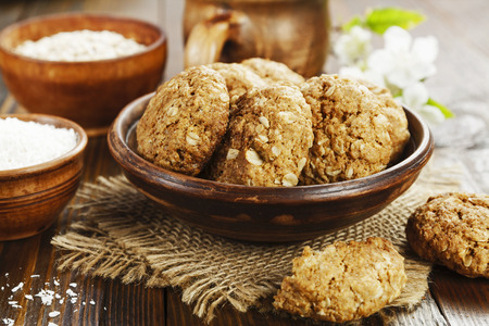 Homemade oatmeal cookies with coconut on the table Stock Photo
