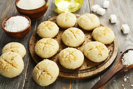 Nan Hathi.Indian traditional cookies with coconut and semolina