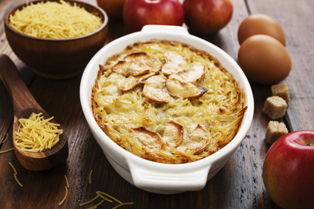 Vermicelli casserole with apples on the table Stock Photo