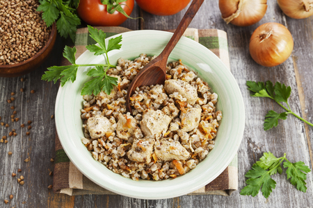 Buckwheat porridge with meat in the bowl