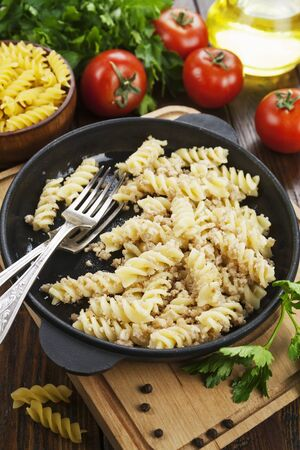 Pasta with minced meat on the table