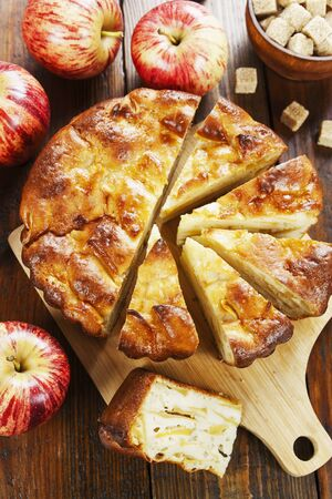 Homemade apple pie on the wooden table