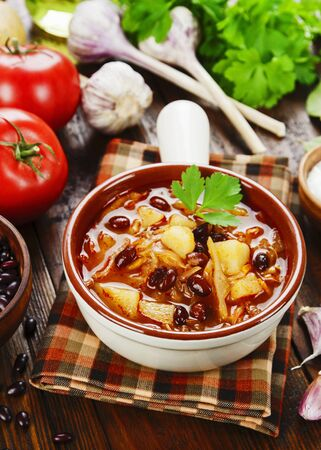 Cabbage soup with red beans.Traditional russian cuisine Stok Fotoğraf
