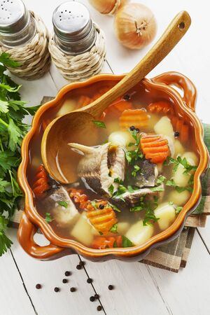 Fish soup with vegetables on the table Stok Fotoğraf