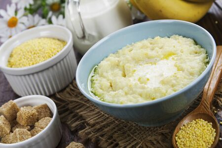 Millet porridge with milk and butter