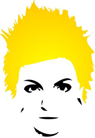 punk hair: punk lady with yellow hair