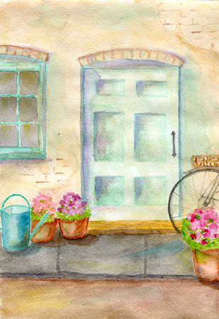 view of a wooden doorway: facade of country house, an old blue door, flowers in pots