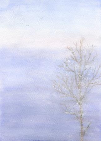 frost: Landscape: fog, tree in frost, paper texture
