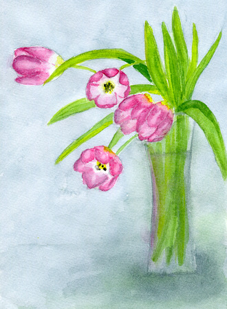 matherday: Bouquet of pink tulips in a vase, illustration, paper texture