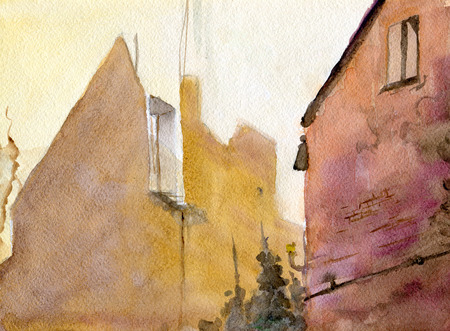 dilapidated: The walls of houses, watercolor illustration, paper texture Stock Photo