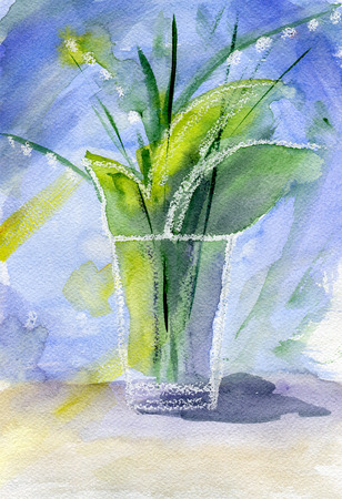 lily of the valley: Bouquet of lily of the valley in a glass on the table, illustration, paper texture.