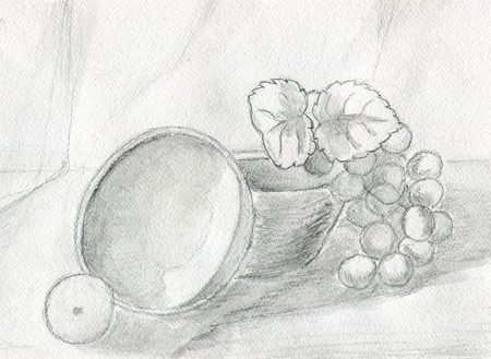 pencil and paper: Still life with grape, lemon, and bowls, illustration watercolor pencil, paper texture