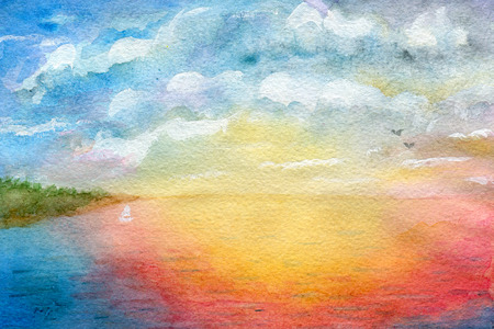 seascape: Seascape, abstraction, watercolor illustration and paper texture Stock Photo