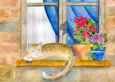 windowsill: Window, cat and flowers on the windowsill,  watercolor illustration and paper texture. Stock Photo