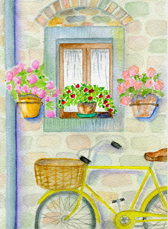 Country still life, wall village house, bicycle and flowers, watercolor illustration, and paper texture
