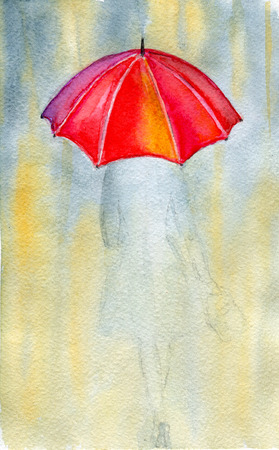 carefree: Woman and rain, watercolor illustrations and paper texture Stock Photo