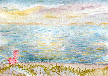nature one painted: Seascape, a woman on the beach, watercolor illustration and paper texture