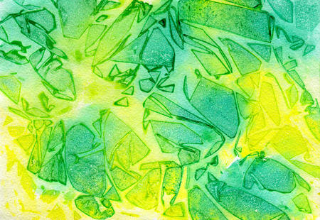 green yellow: Abstraction green yellow, water color and paper texture