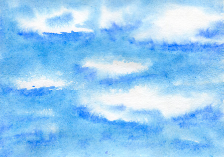 painted background: Abstract blue clouds, watercolor and paper texture