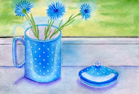 windowsill: Cornflowers in blue cup on the windowsill,  watercolor illustration and paper texture