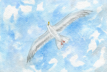 against: White seagull against the sky with clouds, watercolor illustration and paper texture