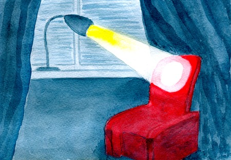 windowsill: still life, table lamp on the windowsill and lighted a chair in a dark room, watercolor illustration and paper texture