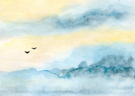 skyscape: skyscape and clouds, silhouettes of birds, abstract background, watercolor illustration and paper texture