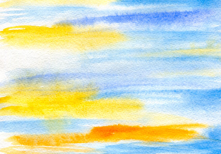 watercolor brush: abstraction background, blue green brush strokes , watercolor and paper texture Stock Photo
