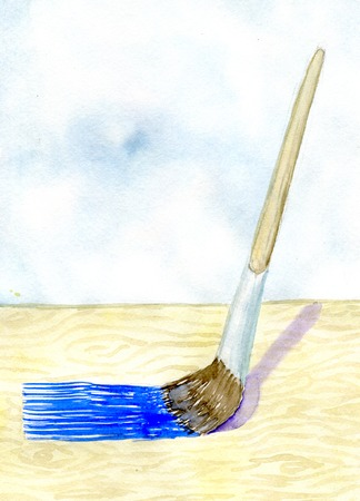 wooden texture: paintbrush paints wooden surface, watercolor illustration and paper texture Stock Photo