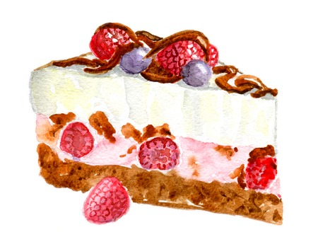 cheesecake: Raspberry  pie, Isolated on white background, watercolor illustration and paper texture