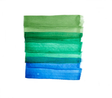 watercolor brush: Abstract green blue brush strokes isolated on white background, watercolor and paper texture