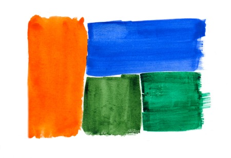 watercolor brush: Abstract green blue and orange brush strokes isolated on white background, watercolor and paper texture