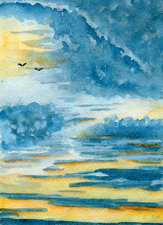 skyscape: Skyscape, birds silhouettes on the horizon, hand-drawn watercolor illustration and  paper texture Stock Photo
