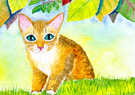 autumn cat: Hand-painted watercolor illustration red cat on the lawn under the autumn leaves and paper texture