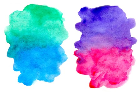 cope: Abstract multi-colored spots isolated on a white background, watercolor and paper texture