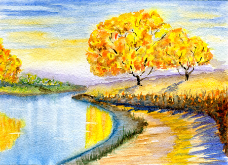 autumn scene: Autumn countryside, hand-drawn, watercolor illustration and  paper texture