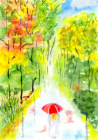Autumn park alley, a woman under an umbrella, hand-drawn watercolor illustration and  paper texture