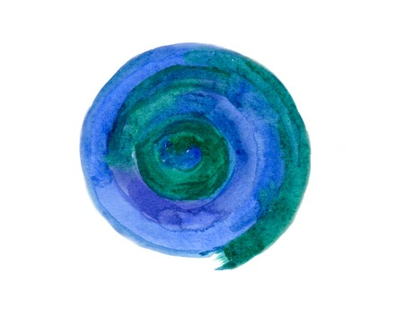 art contemporary: Abstract blue-green spiral, hand-painted watercolor illustration isolated on white background and texture paper
