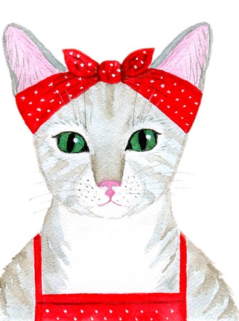 headscarf: Portrait of the cute cat girl hostess dressed in an apron and headscarf.  Greeting card or invitation for birthday party or any party. Funny background. Hand-painted watercolor illustration.