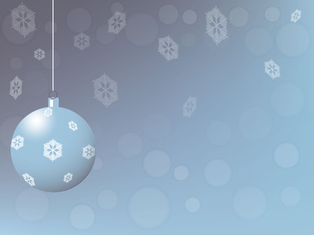 winter sky: Christmas card, blue ball against the background of the winter sky, vector illustration Stock Illustratie