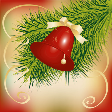 streamer: Christmas card, the branch of a Christmas tree with red bell with bow and streamer, vector illustration Illustration