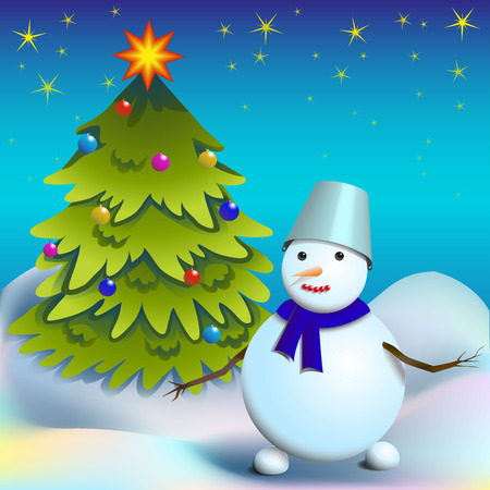 snow drifts: New Year card, snowman with Christmas tree against the starry sky and snowdrifts, vector illustration