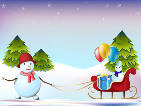 sleds: New Year card, two snowmen and sleds  on the background of trees, vector illustration