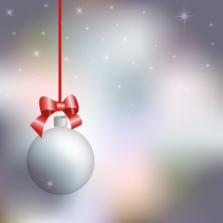 silver ribbon: New Year card, transparent Christmas ball against the background of the winter sky, vector illustration Illustration