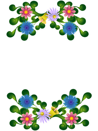 curls: Greeting card floral designs with curls isolated on a white background, vector illustration